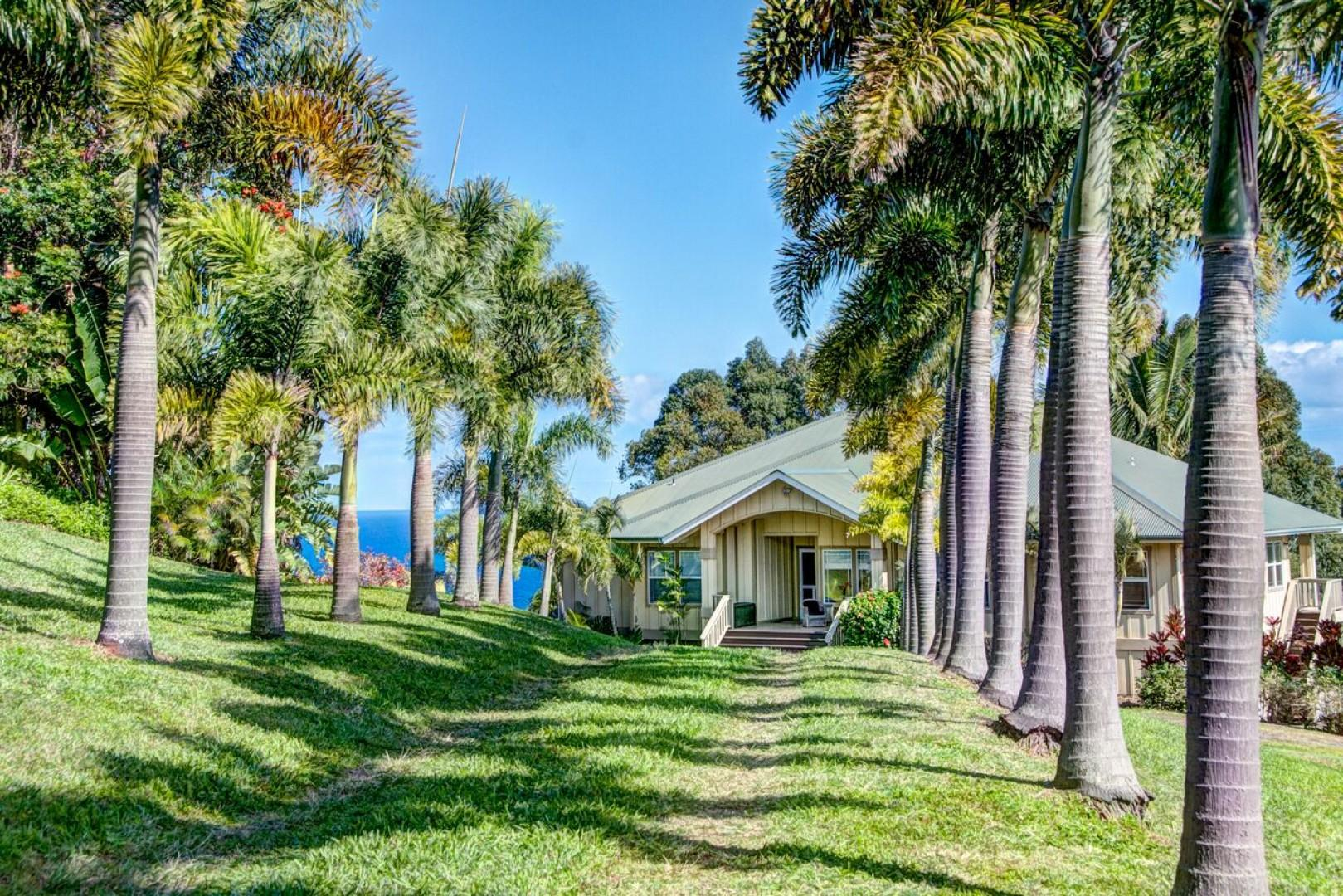 The gorgeous palm lined driveway welcomes you to your home away from home