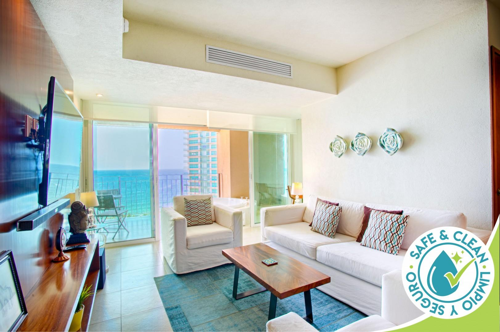 Bright and Breezy Ocean View Condo   Infinity Pools, Gym, Tennis Court