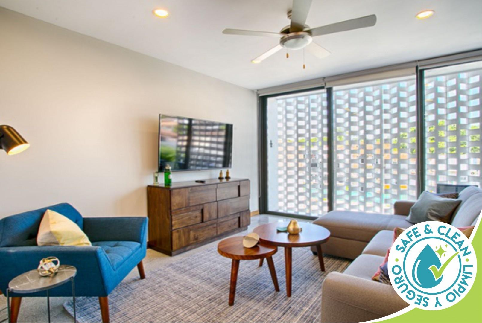 Chic, Spacious Condo | Great Walkability, Pool, Gym, Rooftop Views