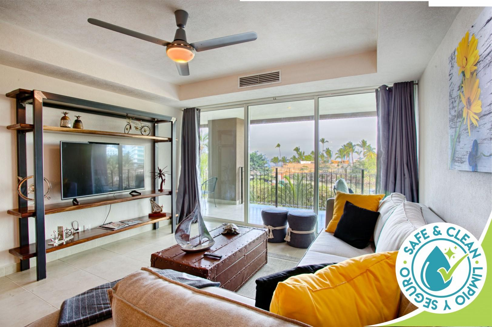 Large Balcony with Quick Access to Sandy Beach and Sparkling Pools
