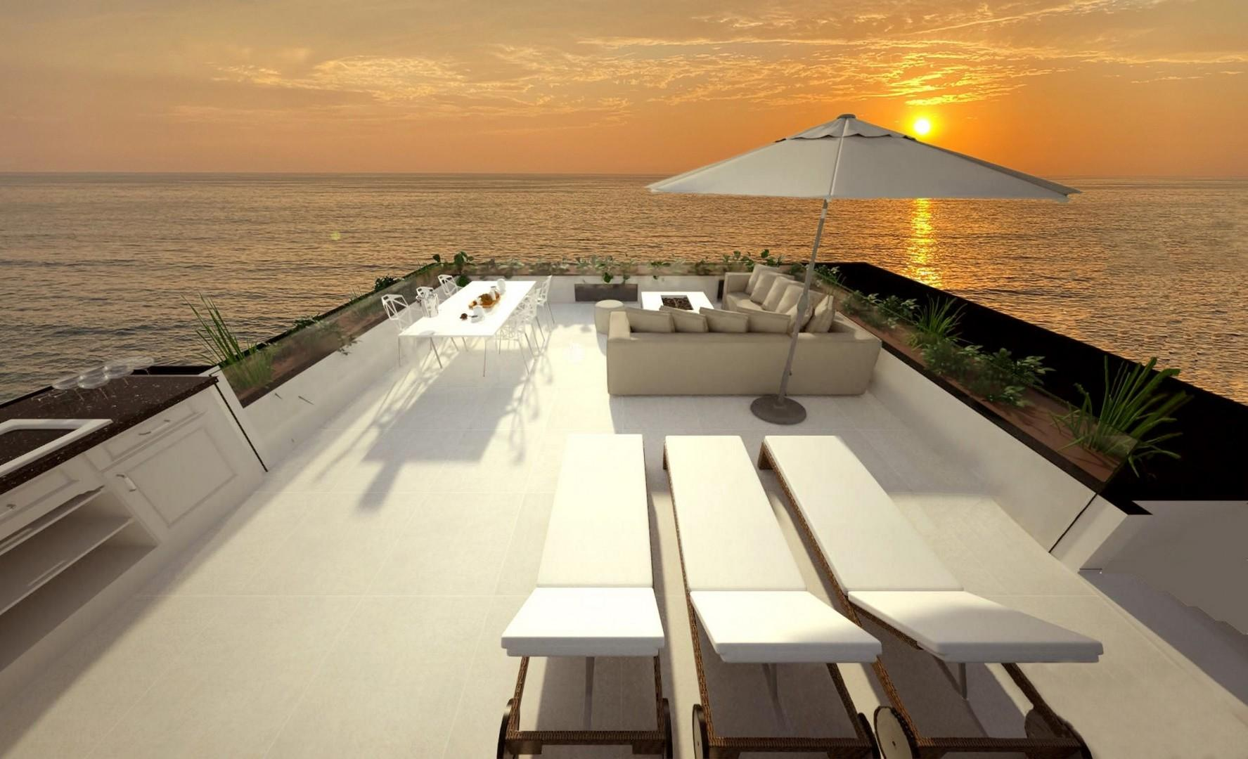 Rooftop dining and lounging