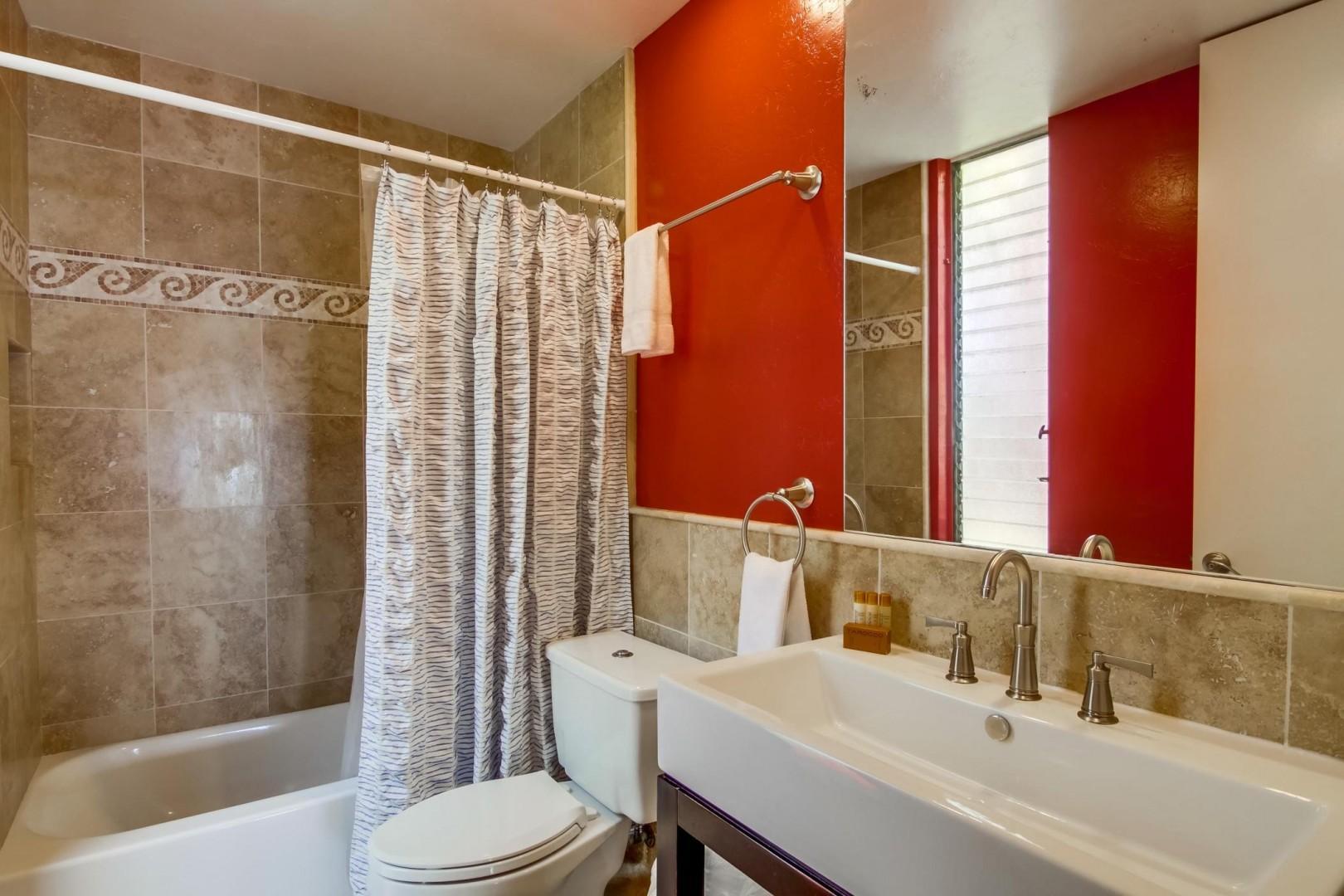 En-suite bath with tub/shower combo