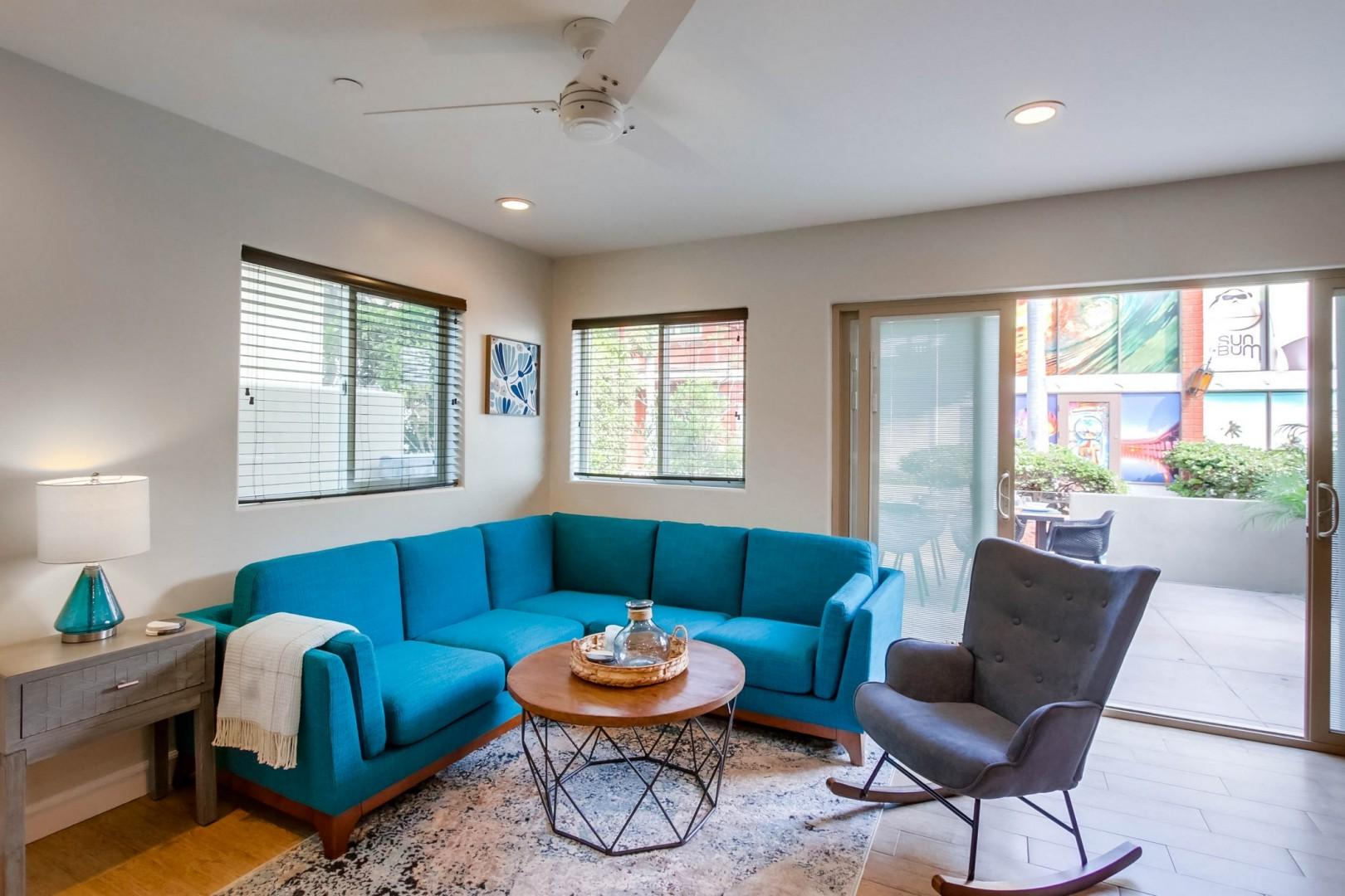 Sectional seating in the living area
