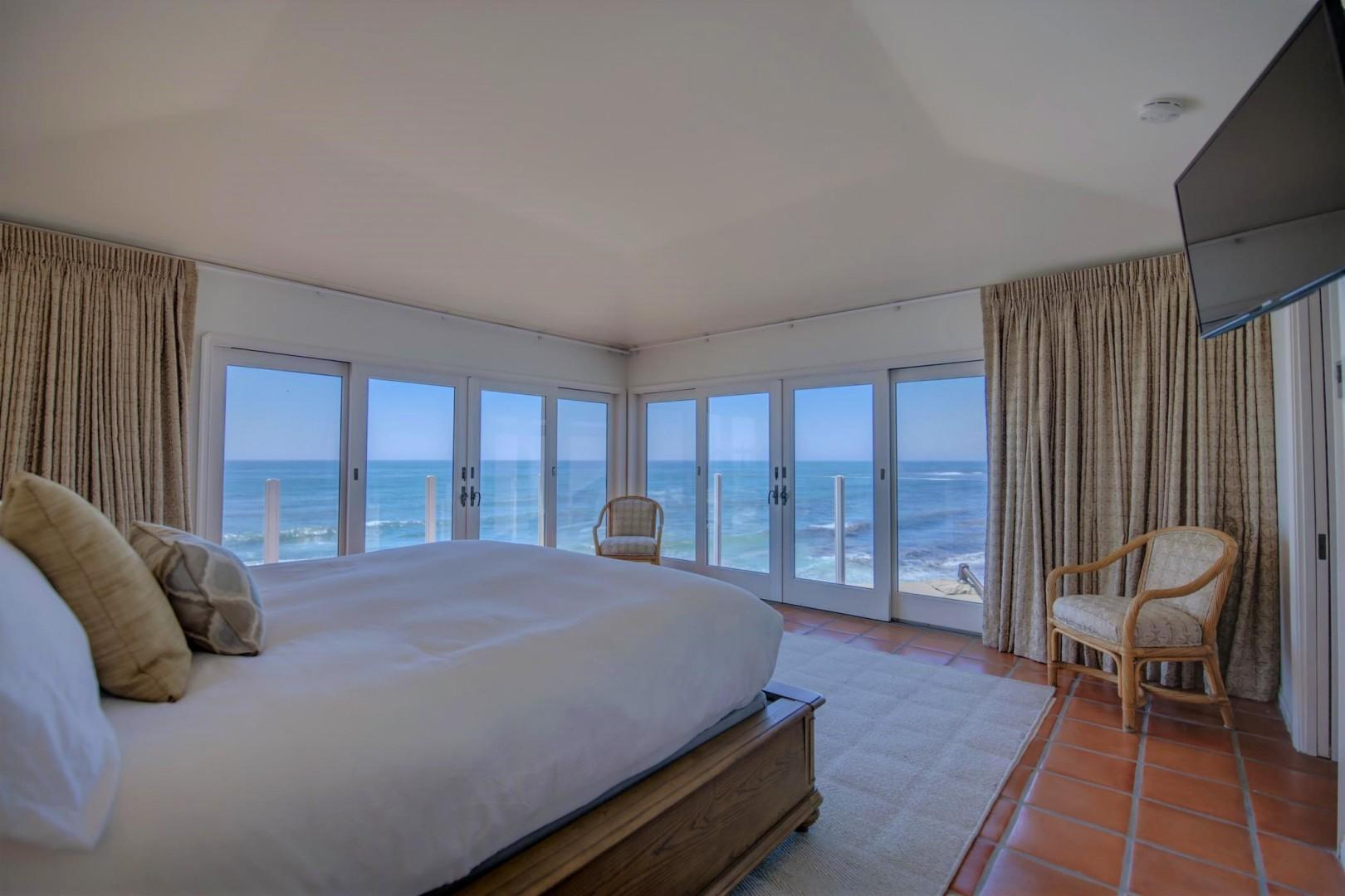 Master suite with surrounding water views