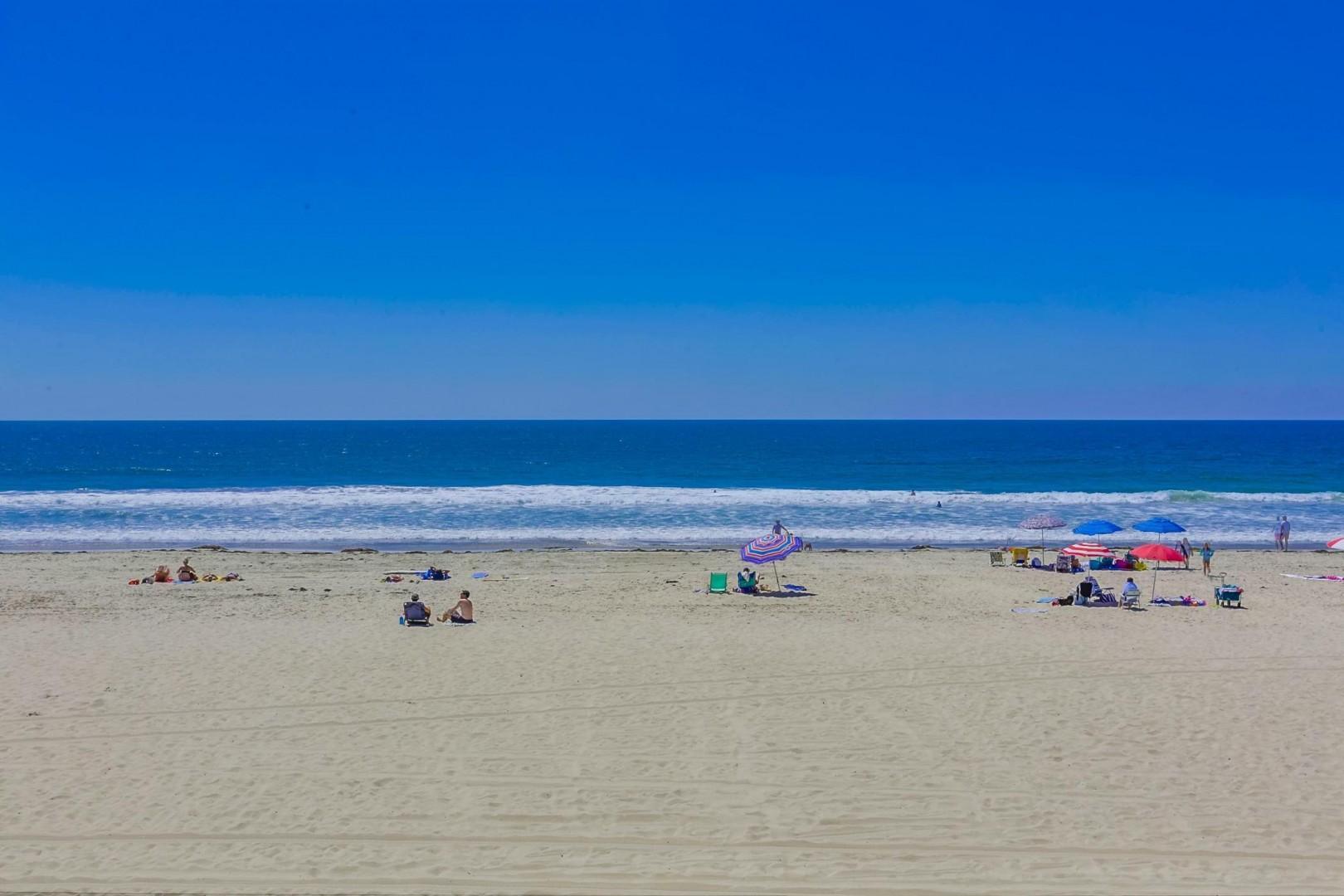The beach is a short 2 minute walk