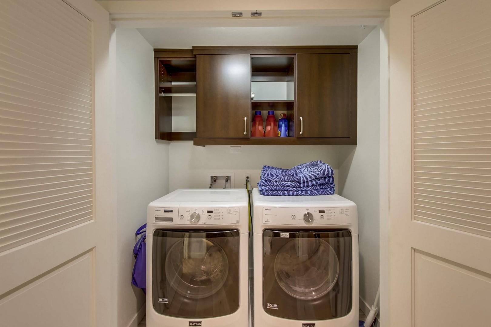 An in home full-size washer and dryer is provided for your convenience