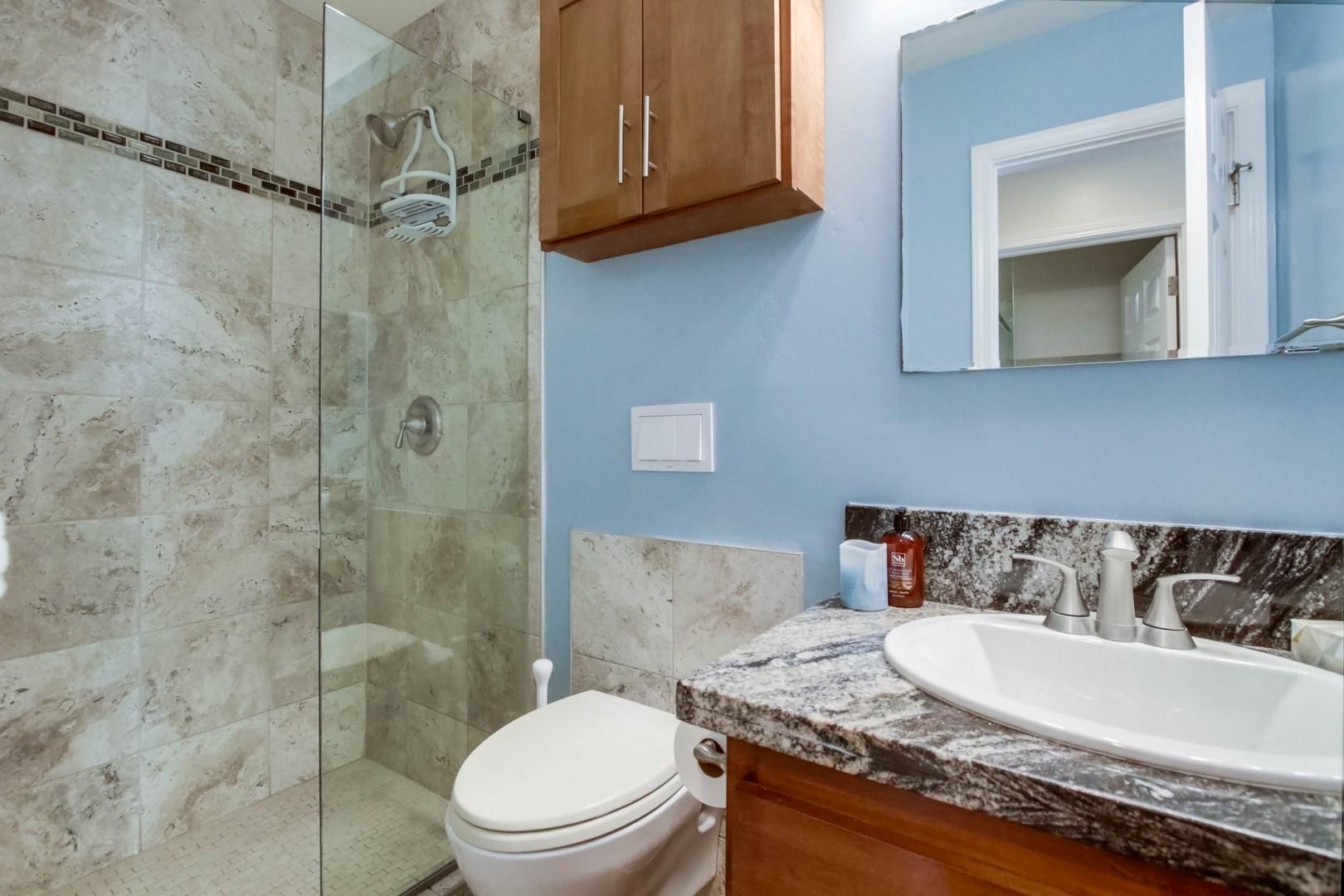 Ground-level bathroom