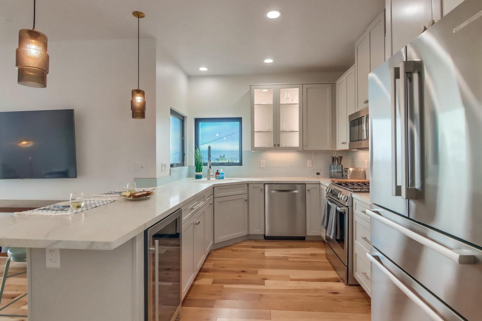Sleek kitchen with stainless appliances