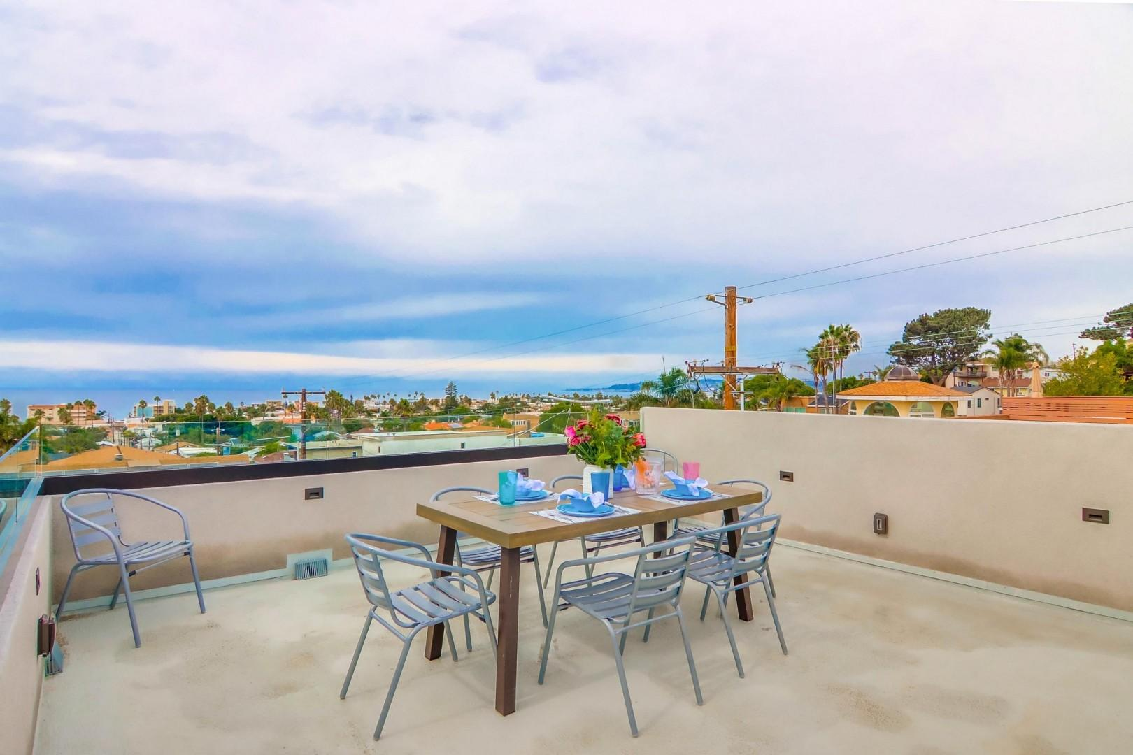 Rooftop deck with views