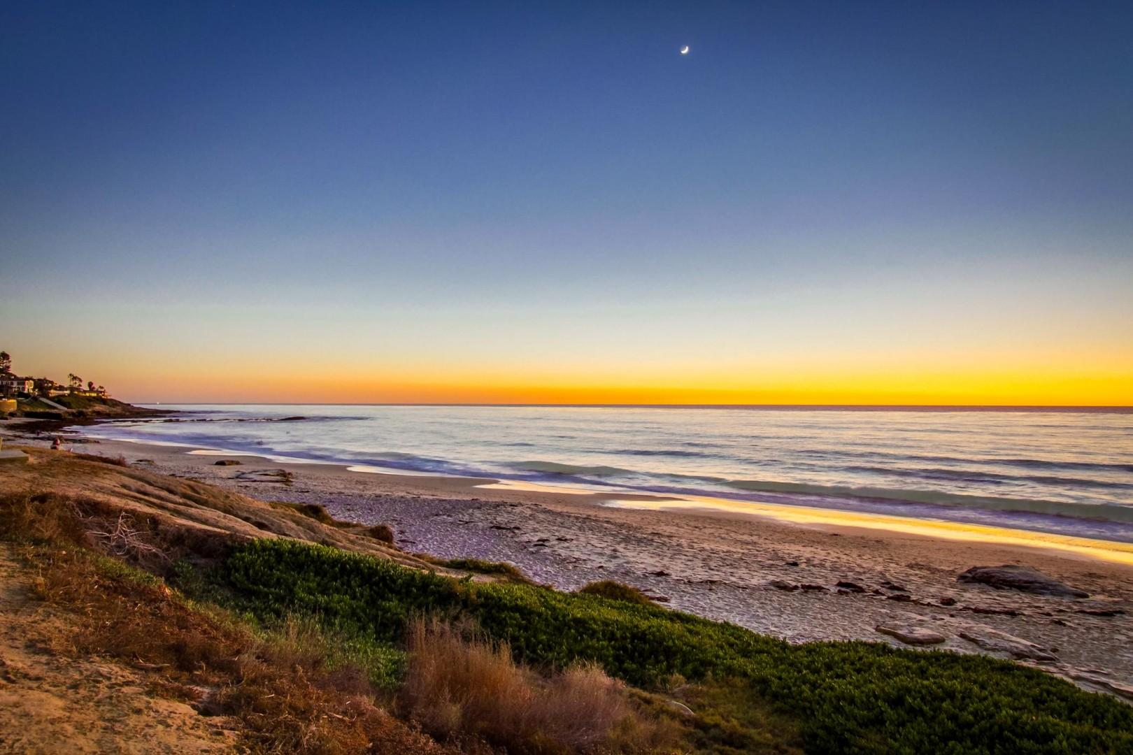 Looking south down the beach at a gorgeous golden sunset