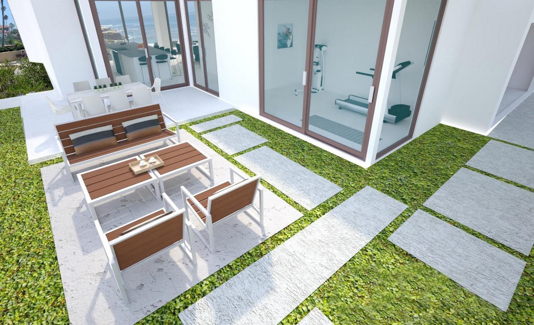 Rear garden courtyard with exercise room