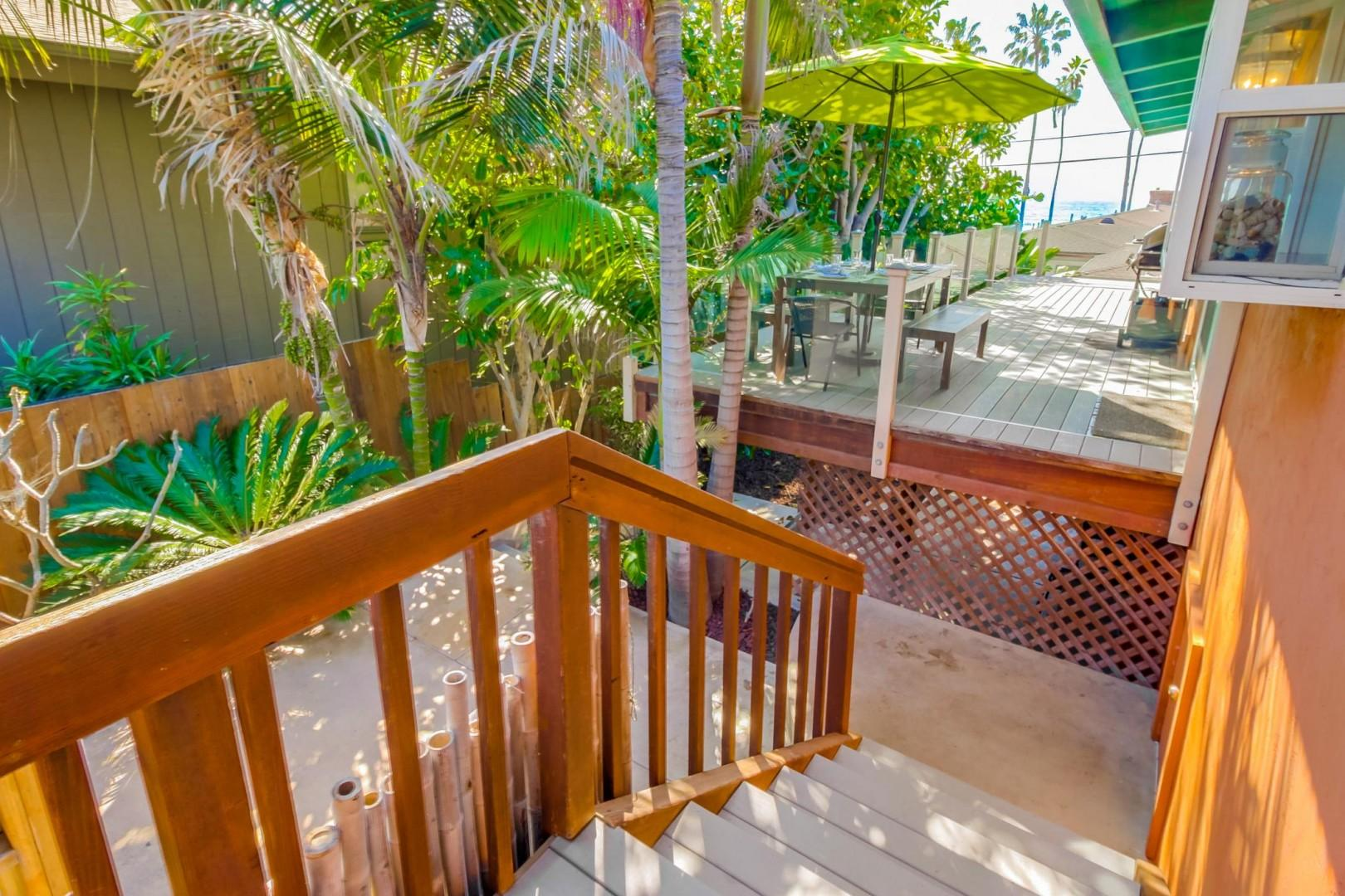 Stairs to back yard and hot tub
