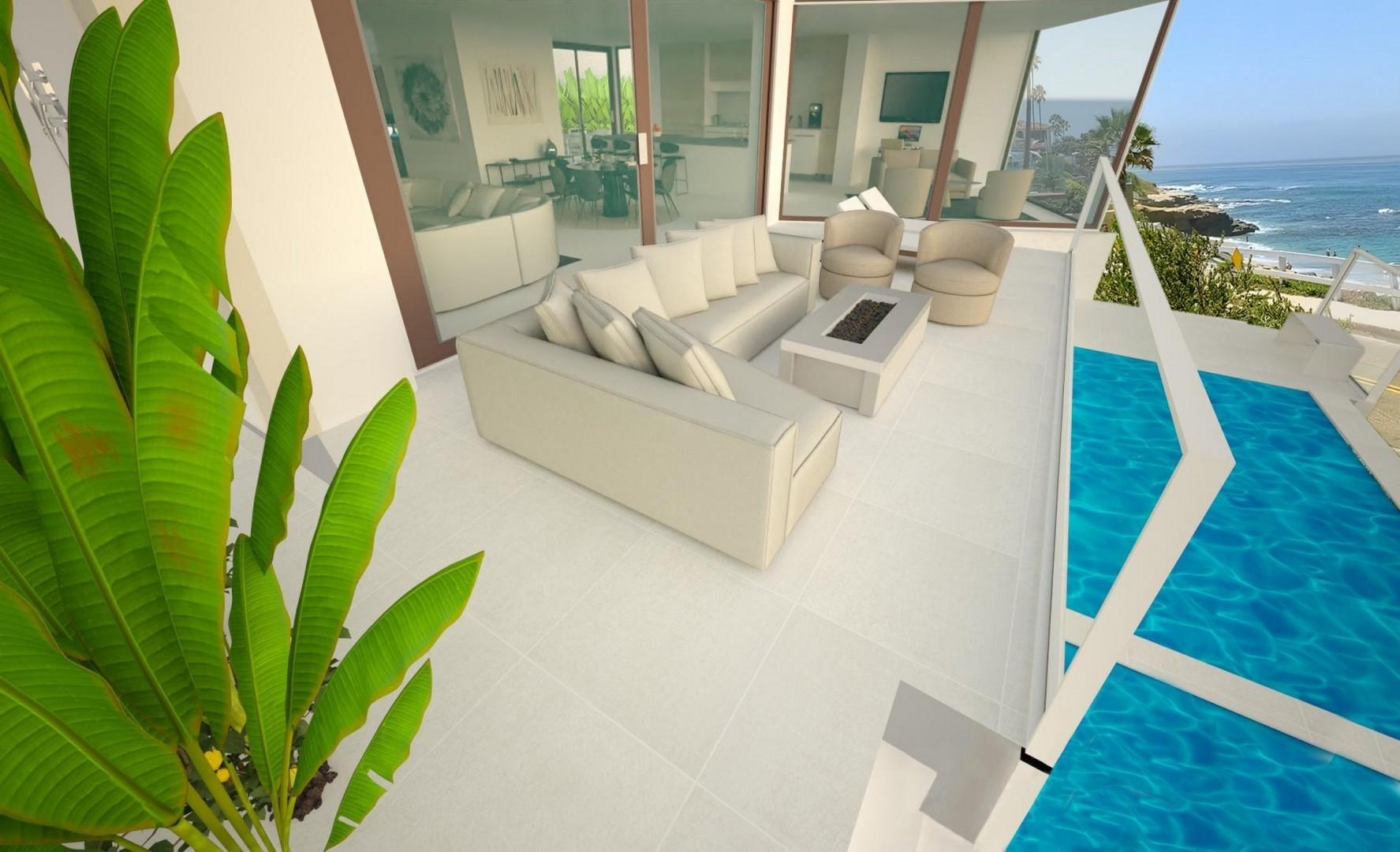 Ocean and pool terrace includes a fire pit