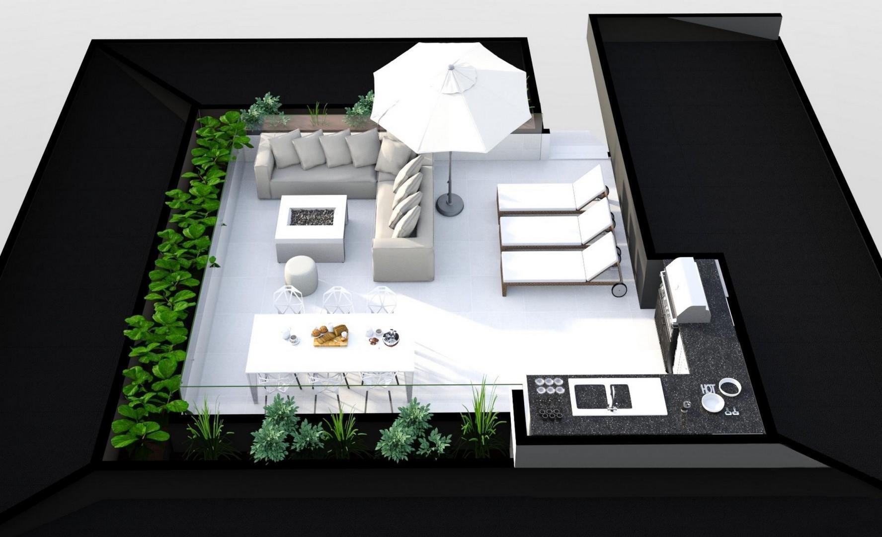 Panoramic view rooftop deck rendering