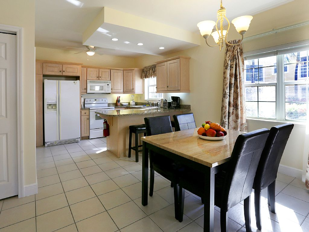 Open Dining and Kitchen.