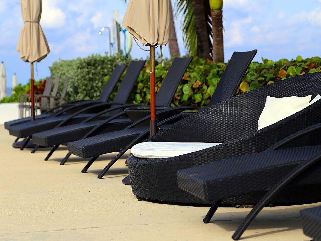 Modern poolside furnishings.