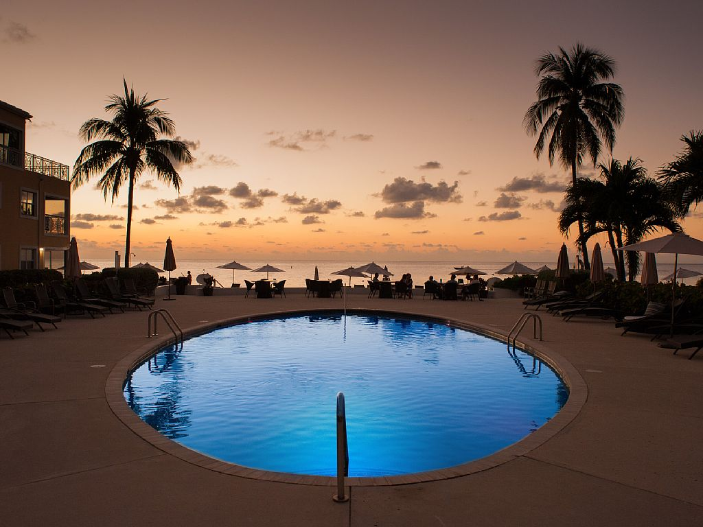Sunset by the Ocean Front Pool.