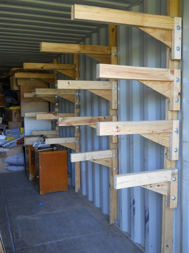 cantilevered shelving for storage containers by devann woodworking community. Black Bedroom Furniture Sets. Home Design Ideas