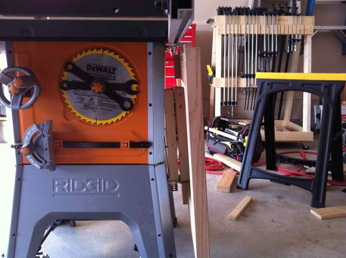 Ridgid r4512 ts shop built folding outfeed table router insert so having an outfeed table that takes up minimal space when stowed away was important to me i came up with this design greentooth Choice Image
