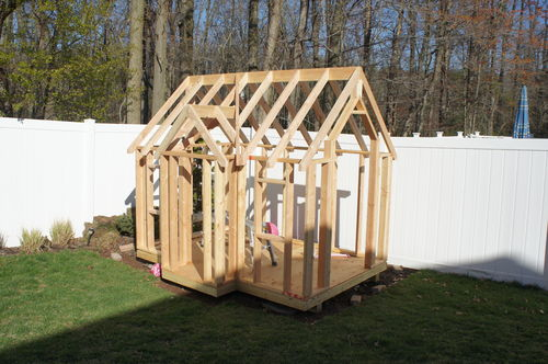 Building my kids 39 playhouse 5 framed the roof by andy for Building a house where to start