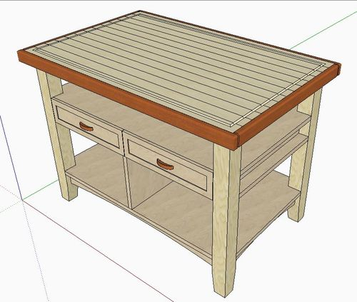 Iu0027m In The Process Of Designing A Kitchen Table/island/ That Has A Hard Maple  Butcher Block Top. My Design At This Point Is This: