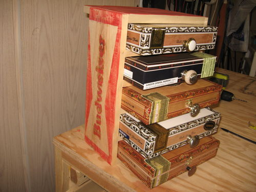 Cigar box mini chest of drawers in a budweiser create for Cigar boxes for crafts