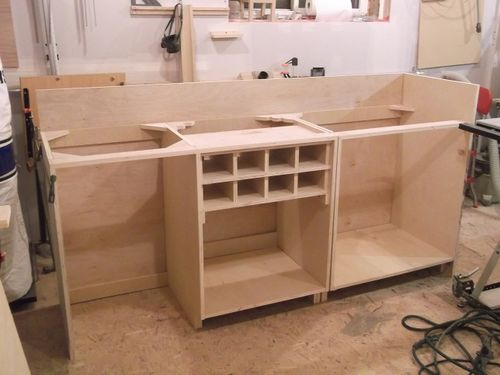 here are the tops laid in place on the cabinets to get a feel for what