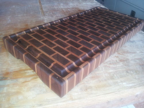 end grain brick pattern cutting board by greg d lumberjocks com