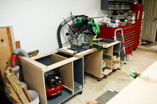 My garagework shop makeover 7 new miter saw station by both carcases are ready for drawers and face frames i have them set in place and mocked up the saw air compressor and the shop vac keyboard keysfo Images