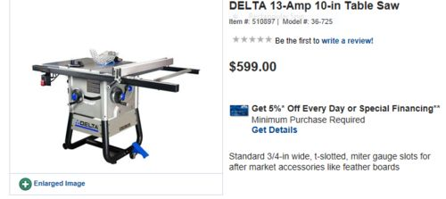 New delta contractor table saw at lowes by kdc68 lumberjocks new delta contractor table saw at lowes by kdc68 lumberjocks woodworking community greentooth Choice Image