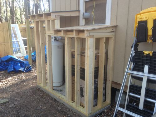 Workshop Storage For Air Compressor And Propane Tank By