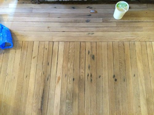 Removing black rust stains from nails and staples on for Wood floor nails or staples