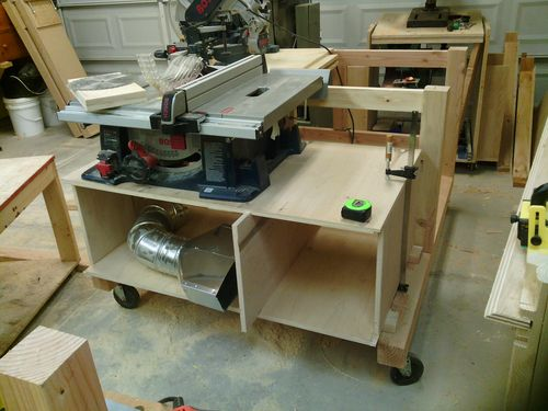 The Miter Saw Will Be Flush With The Table Saw So That It Can Use The Table  Saw Fence As Helper Fence.