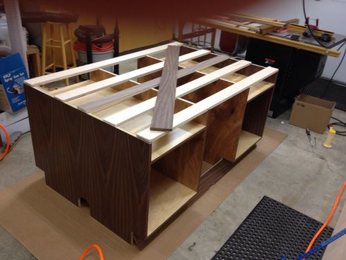 Built it pretty much exactly how the Wood Whisperer did  although I made  adjustments to accomodate 6 leveling feet  my garage slopes slightly from  back to. Assembly Table   Overkill    by twobyfour16   LumberJocks com