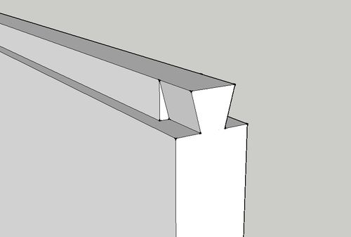 dovetail dado joint. still get the look of a sliding dovetail, but much easier to build and assemble. most joint is dado, with just front getting construction dovetail dado