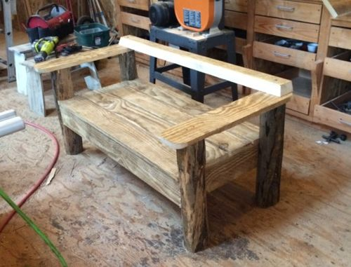 Rustic Bench With Log Legs By Ttf Lumberjocks Com Woodworking Community