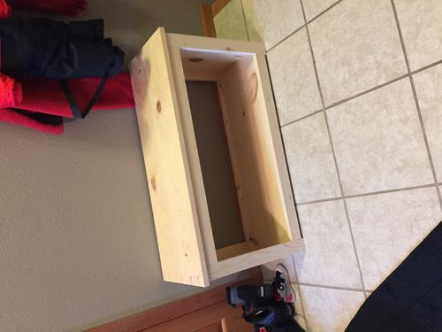 Pine entryway bench - filling nail holes - by AAANDRRREW