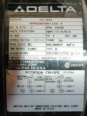 I have a delta 34 444 table saw and am thinking of changing the by notice the hp lists two different values 1 12 for 120v low voltage and 2 for 240v high voltage wiring for either voltage is shown at the bottom greentooth Gallery