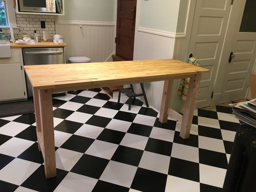 Gentil It Is A Counter Height Kitchen Table/island Using An Solid Birch Ikea Butcher  Block Countertop (74×25 1/8u201d And 1 1/8u201d Thick).