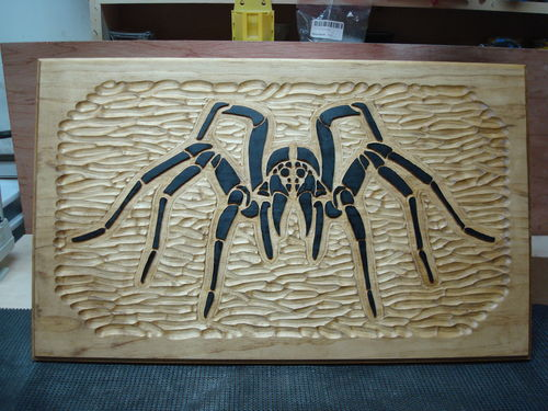 Relief carving tarantula sign art by steve henderson