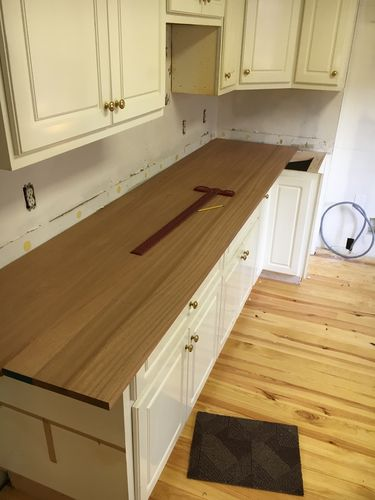 After Scribing To The Walls, I Squared The Ends And Cut To Width (including  A 1.5u201d Overhang) Using A Track Saw. Part Of The Design Of These Countertops  ...
