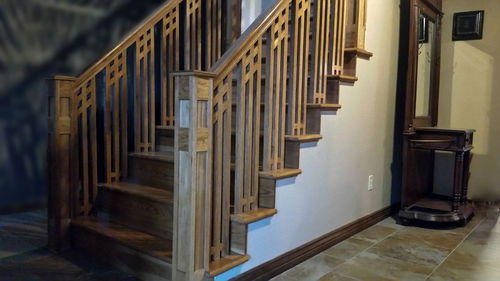 This Custom Staircase And Handrail Is Made From Hickory And Stained To Go  With The Wood Flooring That Was Installed At The Top Of The Stairs.