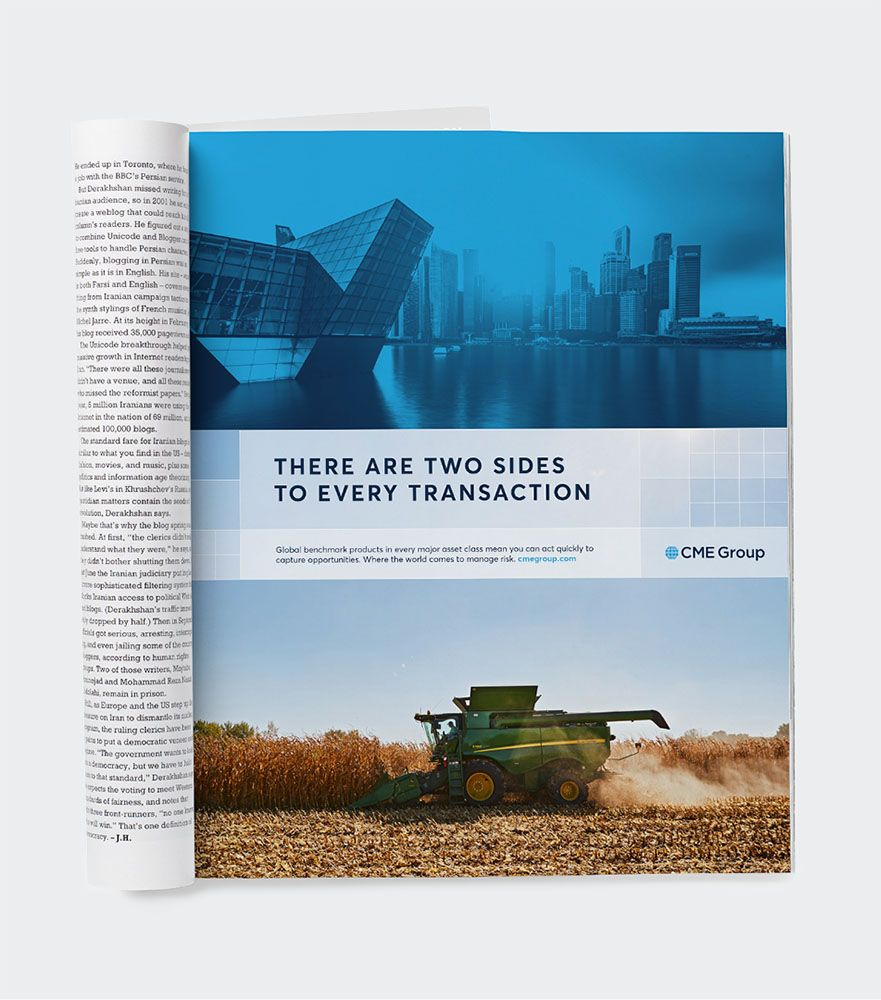 CME Group print ad – There are two side to every transaction