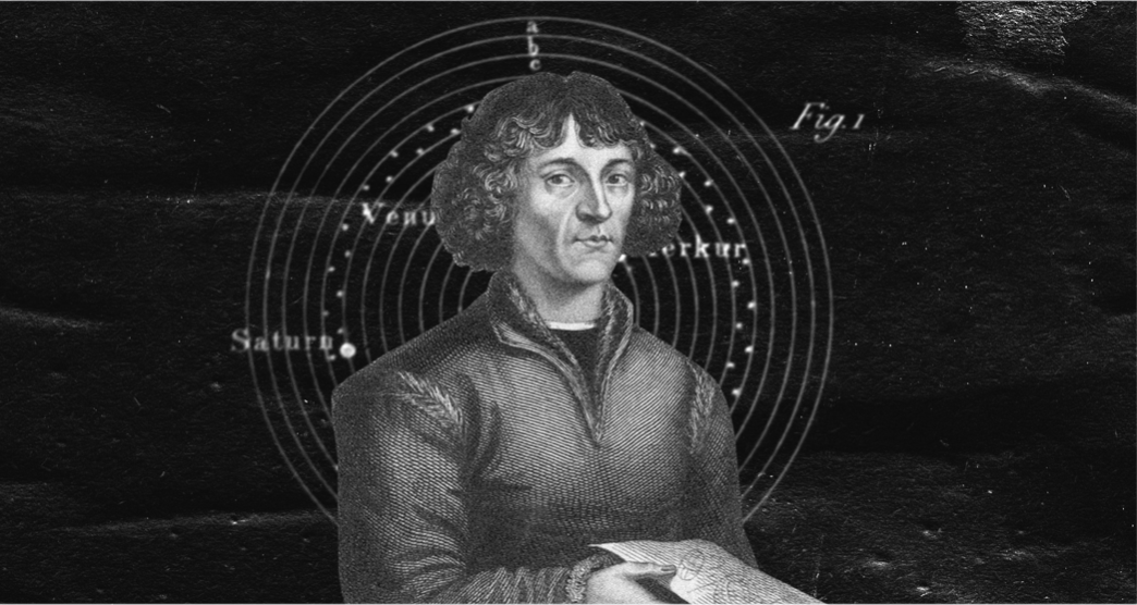 Nicolaus Copernicus in front of the Copernican heliocentric model that he developed.