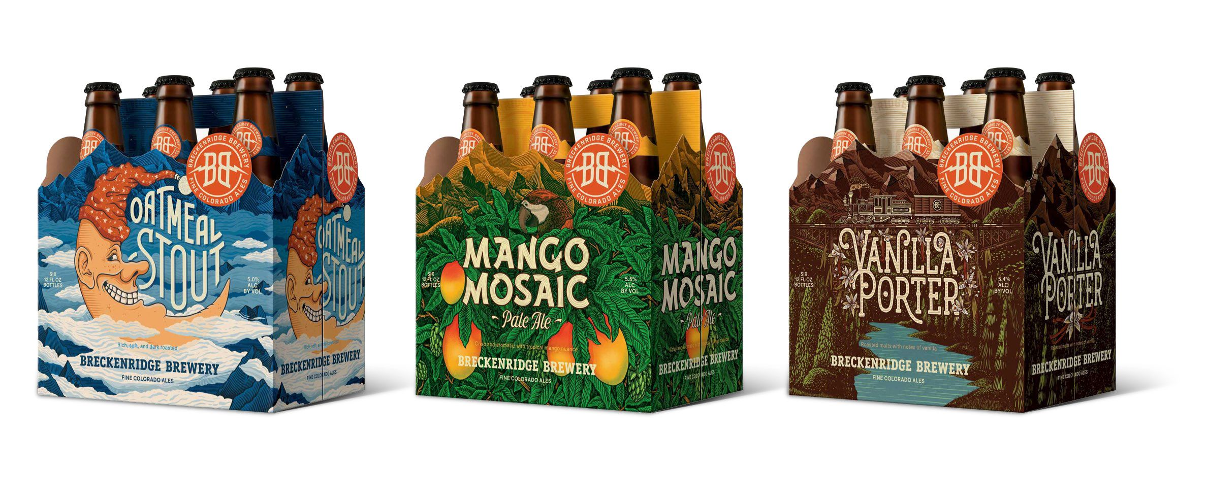 Packaging spread of Breckenridge Brewery's 6-packs
