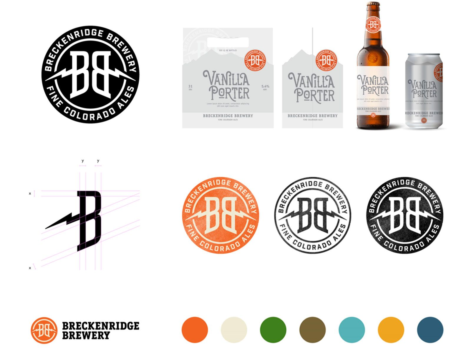 Logos, sample packaging, and color palette for Breckenridge Brewery