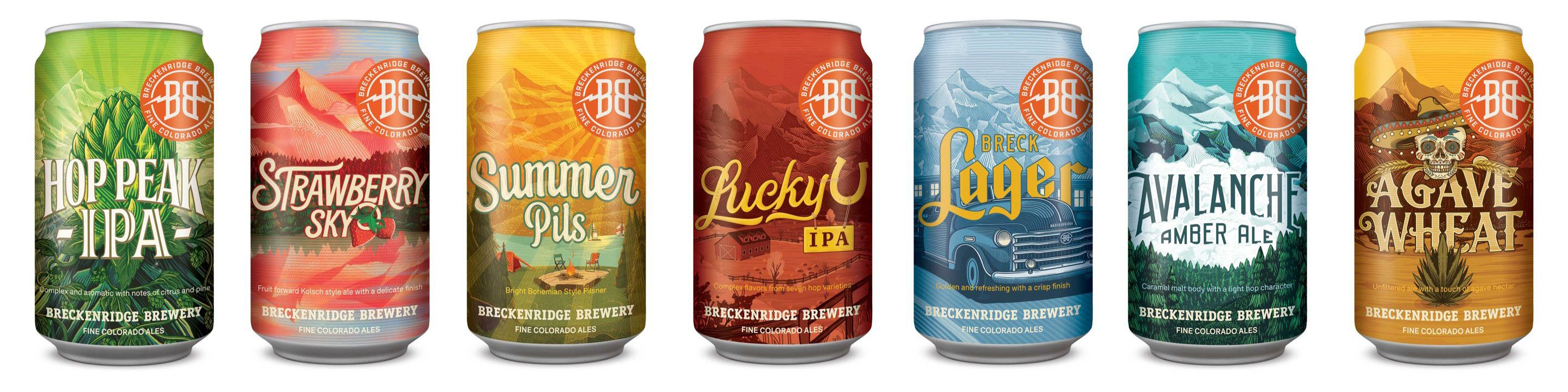 Design spread of Breckenridge Brewery's cans.