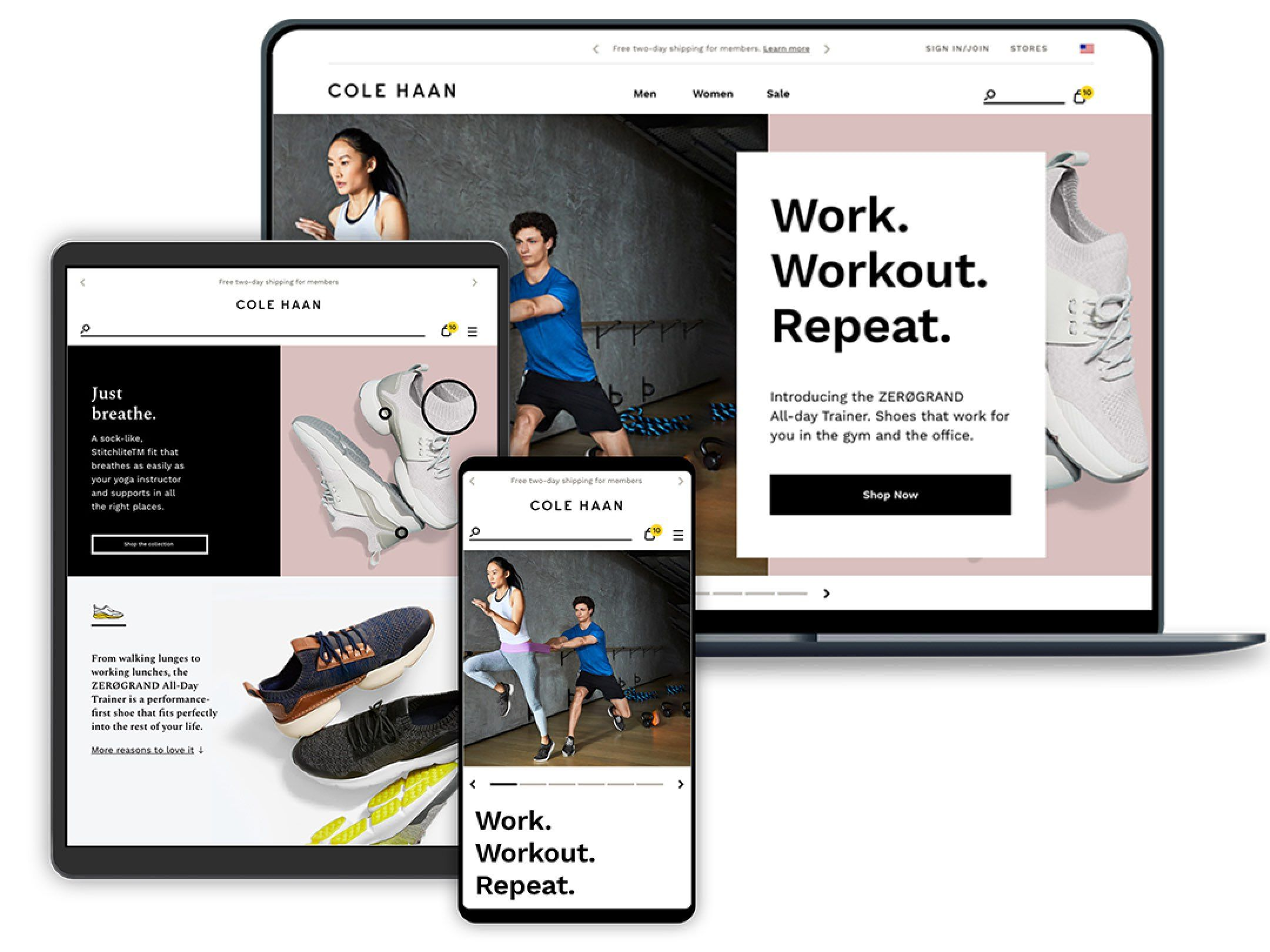 Cole Haan website on multiple devices