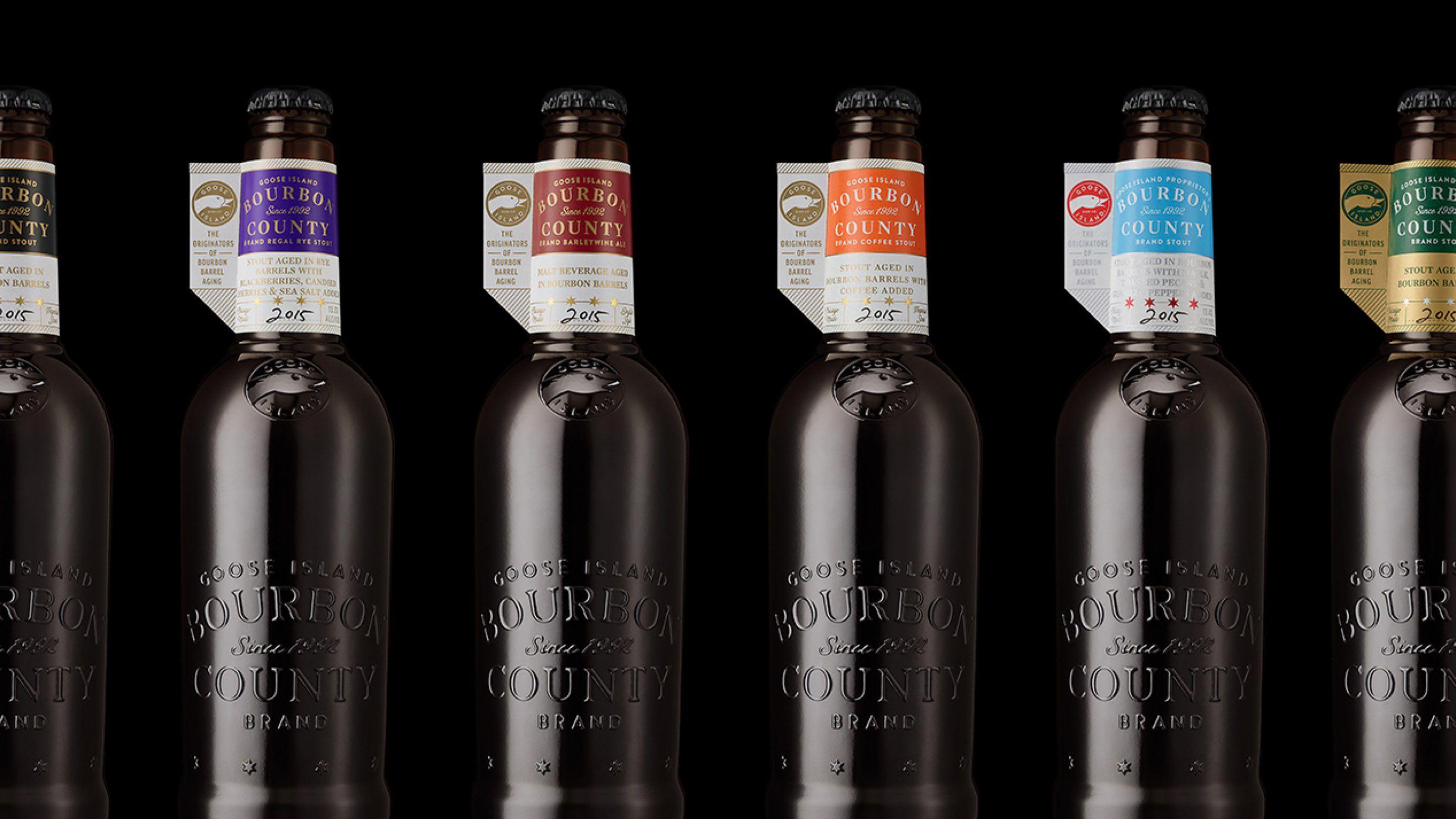 Spread of Goose Island Bourbon County bottles