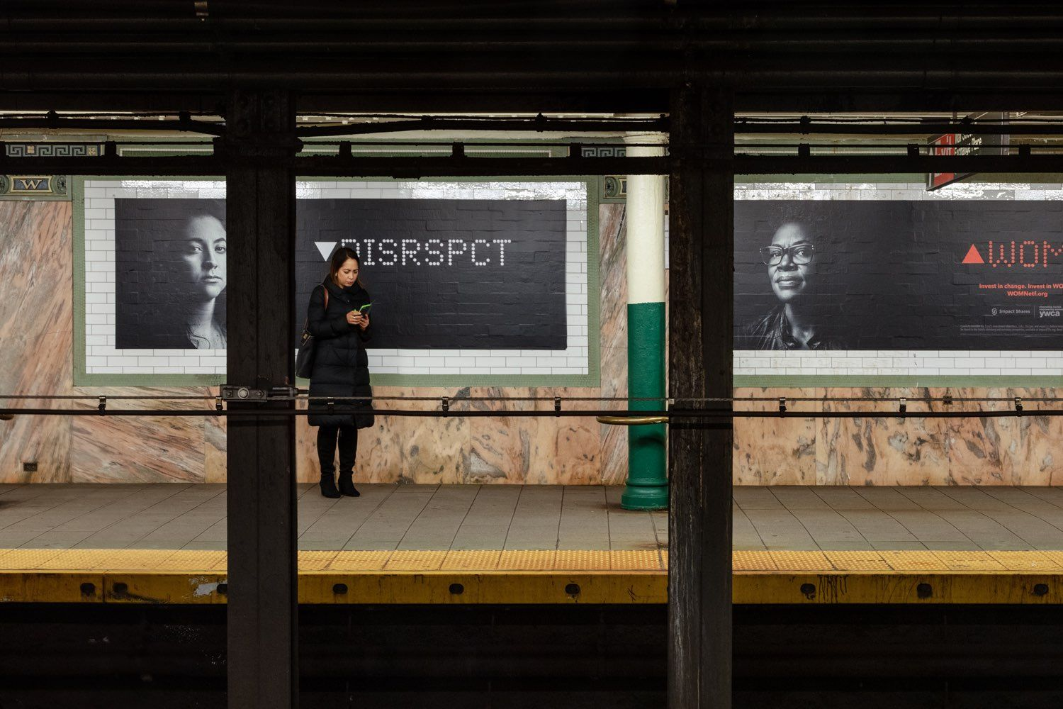 DISRSPCT/Disrespect subway poster for Impact Shares' WOMN campaign.